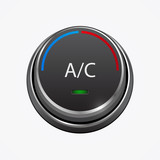 Car air condition button, isolated on white