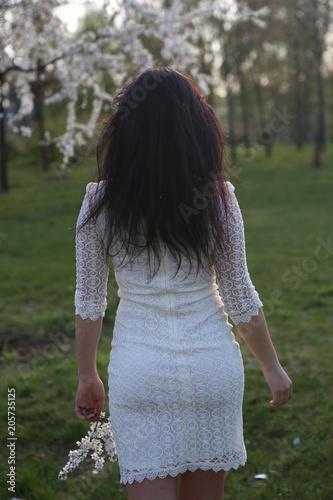 Fototapeta girl cherry blossom branch going back garden