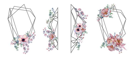 Geometric botanical design frame. Wild  flowers, peonies, anemone, leaves and herbs. © EvgeniiasArt