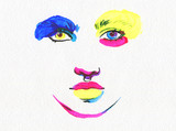 abstract face. beautiful woman. fashion illustration. watercolor painting - 205741343