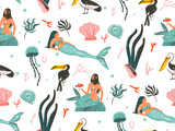 Hand drawn vector abstract cartoon graphic summer time underwater illustrations seamless pattern with jellyfish,fishes and beauty bohemian mermaid girls characters isolated on white background - 205741359