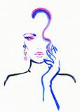 beautiful woman. fashion illustration. watercolor painting - 205741368