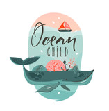 Hand drawn vector abstract cartoon summer time graphic illustrations art template print badge background with beauty whale in ocean waves,sail and Ocean Child quote isolated on white background - 205741373