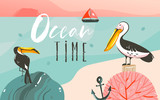 Hand drawn vector abstract cartoon summer time graphic illustrations art template background with ocean beach landscape,beauty toucan and pelican birds,sundown with Ocean time typography quote - 205741387