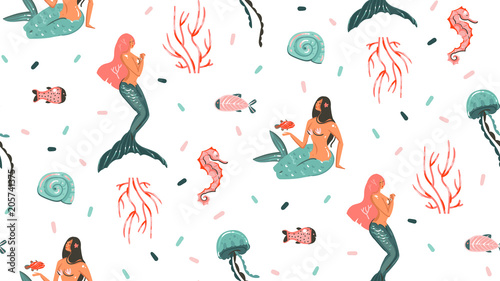 Cotton fabric Hand drawn vector abstract cartoon graphic summer time underwater illustrations seamless pattern with jellyfish,fishes and beauty bohemian mermaid girls characters isolated on white background