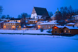 View of the ancient cathedral in the February twilight. Winter Porvoo, Finland - 205744938