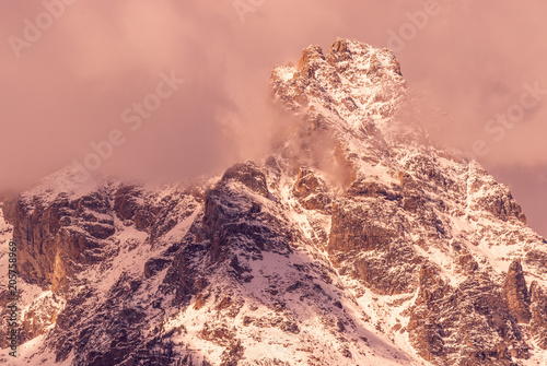 Wall mural Snow Covered Tetons at Sunrise in autumn