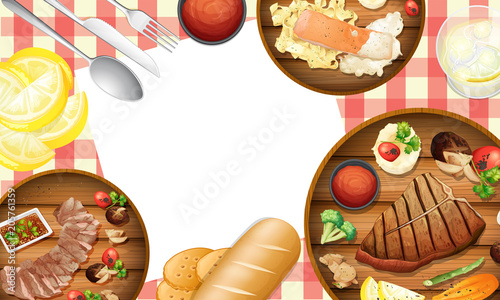 Fotobehang Kids Healthy Food on Table Template