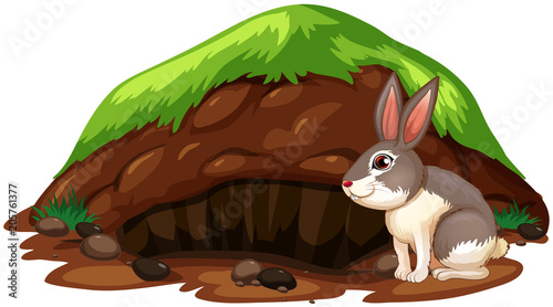 Fotobehang Kids A Cute Rabbit Getting Out of Hole