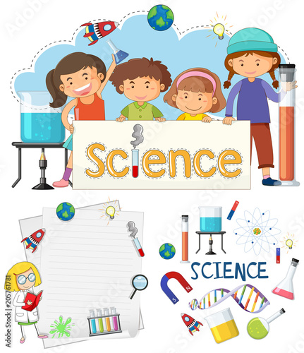 Fotobehang Kids Science Banner Element and Students