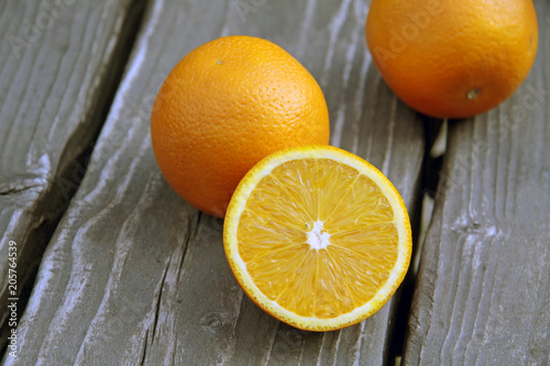 oranges on a wooden table