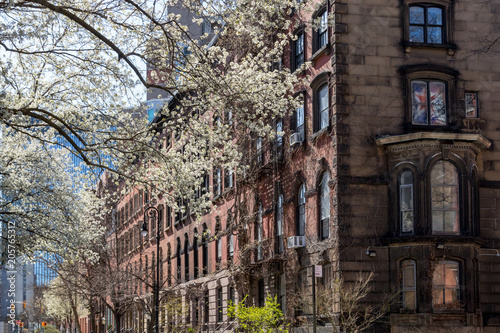 Spring street scene in the East Village of New York City