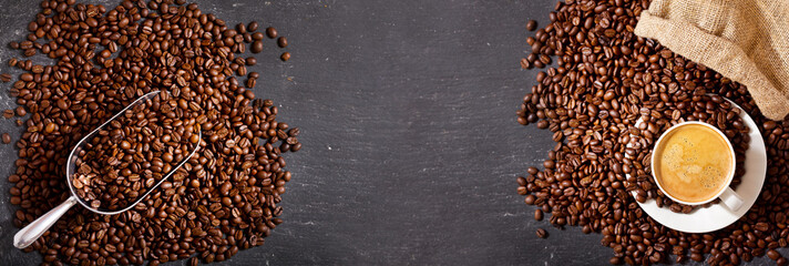 cup of coffee and coffee beans in a sack, top view © Nitr