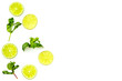 Citrus frame. Lime round slices composition on white background top view copy space