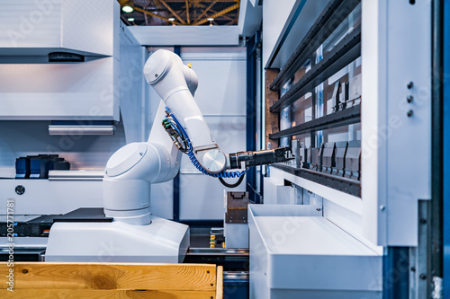 Leinwanddruck Bild Robotic Arm modern industrial technology. Automated production cell.