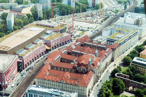 Wall mural BERLIN, GERMANY - May 17, 2018: View from the TV tower on the sights of the city