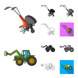Agricultural machinery cartoon,black,flat,monochrome,outline icons in set collection for design. Equipment and device vector symbol stock web illustration. - 205781164