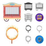 Circus and attributes cartoon,black,flat,monochrome,outline icons in set collection for design. Circus Art vector symbol stock web illustration. - 205781571