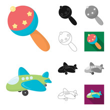 Children Toy Cartoonblackflatmonochromeoutline Icons In Set  For Design Game And Bauble  Symbol Stock Web Illustration Sticker