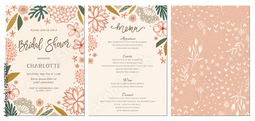 Rustic hand drawn Bridal Shower invitation and menu with seamless background.  - 205783786