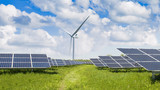 solar panels and wind turbine - 205784177