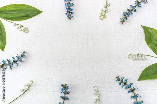 Fotobehang Lelietjes van dalen Forest and wild flowers on a white background