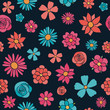Vintage pattern with colourful flowers. Mother's Day, Woman's Day and Valentine's Day. Vector. - 205785710