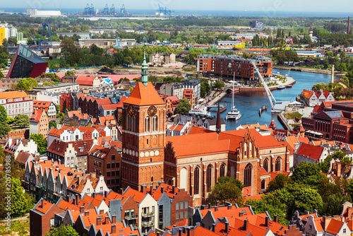 Fototapety, obrazy : Gdansk, Poland, cityscape aerial view of the old town