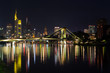 Frankfurt Skyline Reflection on Main River at Night