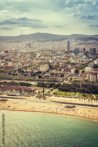 Barcelona aerial, city skyline and the beach, Spain. Helicopter view. Vintage colors