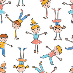 Pattern of the cheerful cartoon kids
