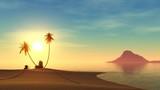 tropical beach at sunset, sun on the sea, island at sunset