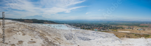 Foto Murales Panoramic view of Pammukale near modern city Denizli, Turkey. One of famous tourists place in Turkey