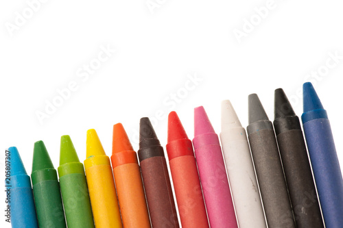 Color wax pencils islated over white background crayons