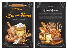 Bread Sketch Posters For Premium Bakery Sticker