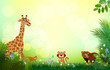 Bright tropical background with cartoon; jungle; animals; - 205822119