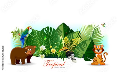 Fototapeta Jungle or Zoo Themed Animal Background.