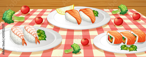 Fotobehang Kids Sushi on Plate at Table
