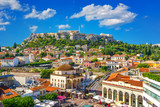 View of the Acropolis from the Plaka, Athens, Greece - 205824116