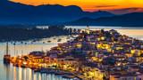 Greek town Poros at night, Greece - 205824136