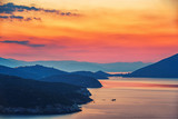 Colorful sunset over sea in Greece - 205824158