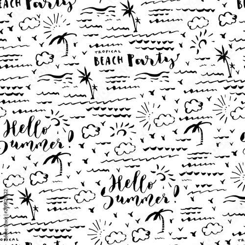 Materiał do szycia Hand drawn summer seamless pattern with palm rees, sea, clouds and birds. Hello Summer Beach Party brush hand lettering
