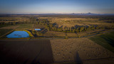 Aerial drone view of hay bales in the Scenic Rim, Queensland, Australia - 205825944