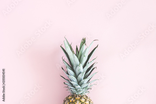 Pineapple on pastel pink background. Summer concept. Flat lay, top view - 205834541