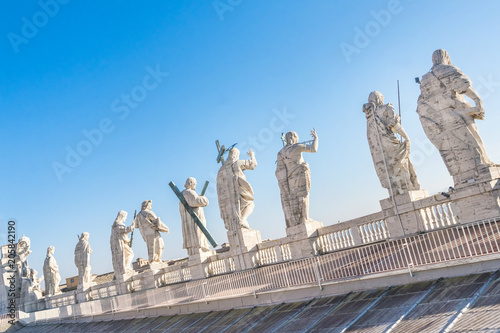 Detail of the St Peter's Basilica in Vatican. Statues on the top of St Peter's Basilica