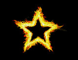 Fire frame on black background. Abstract star.