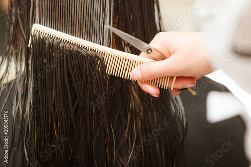 Closeup of dark wet hair, comb and hairdressing scissors