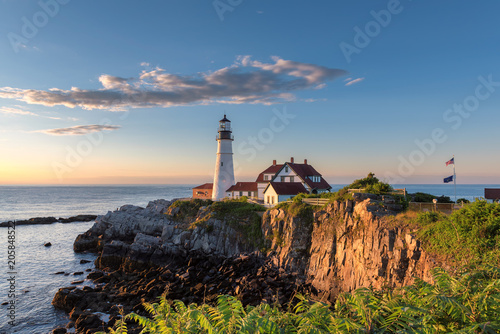 Fotobehang Vuurtoren Portland Head Lighthouse in Cape Elizabeth, New England, Maine, USA.