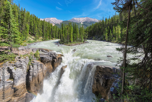 Canadian Rockies. Beautiful view to Sunwapta falls in Jasper National Park, Alberta, Canada. - 205848543
