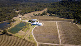 Aerial drone view over wineries and granite rock in Stanthorpe, Australia - 205850748